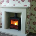 Portway Two Contemporary in a Limestone fireplace package