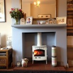 Smooth lined chamber, quarry tiled hearth, Carron 4.7 enamel stove